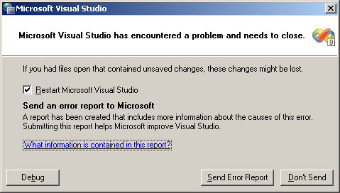 Microsoft Visual Studio has encountered a problem and needs to close