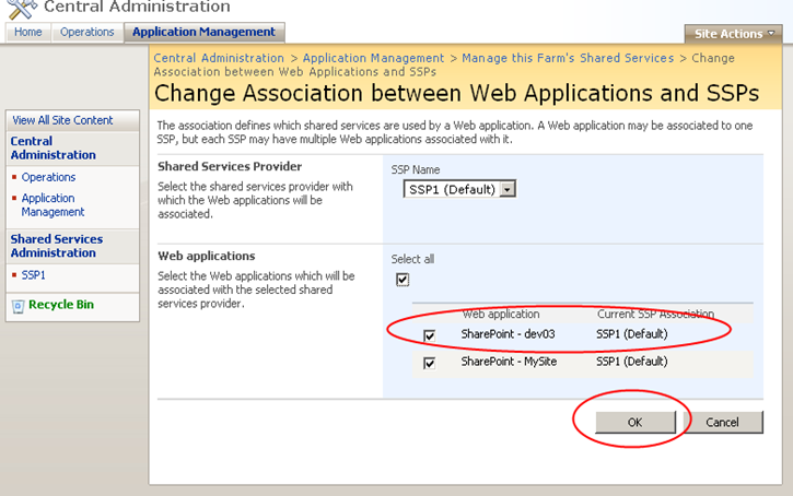 sharepoint central administration change association between web applications and ssps