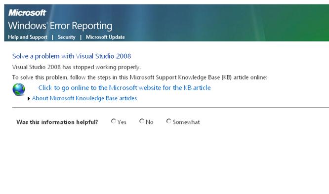 Windows Error Reporting Page